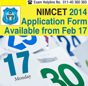 NIMCET 2014 Application Form Available from February 17