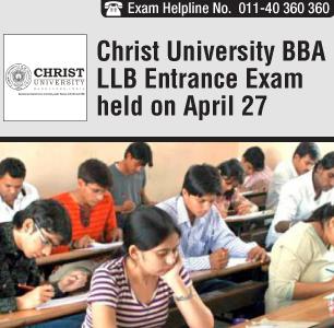 Christ University BBA LLB Entrance Exam held on April 27