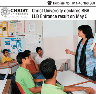 Christ University declares BBA LLB Entrance result today on May 5