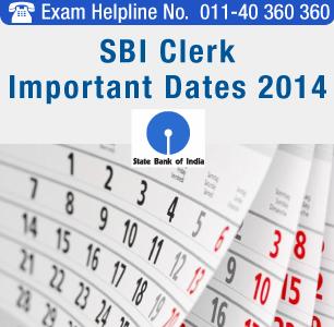 SBI Clerk 2014 Important Dates