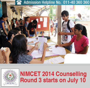 NIMCET 2014 Counselling Round 3 starts on July 10