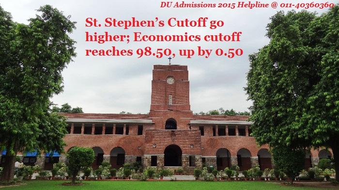 St. Stephen's Cutoff go higher; Economics cutoff reaches 98.50, up by 0.50
