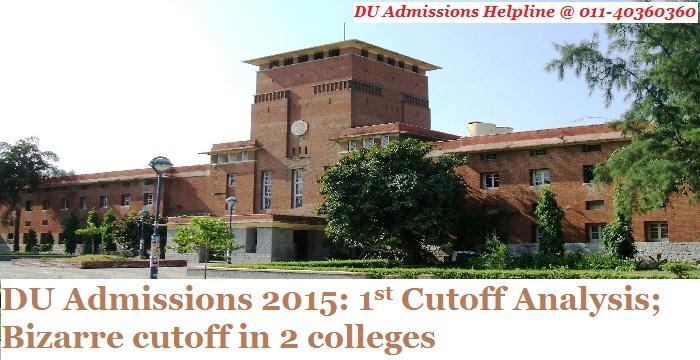 DU Admissions 2015: 1st Cutoff Analysis; Bizarre cutoffs in 2 colleges