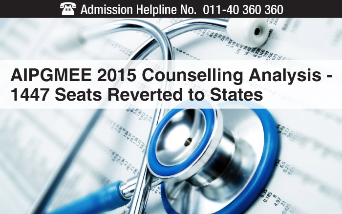 AIPGMEE 2015 Counselling Analysis - 1447 Seats Reverted to States