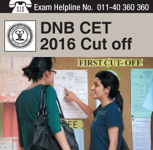 DNB CET 2016 Cut off