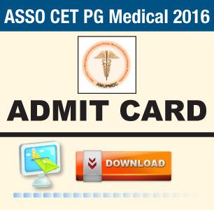 ASSO CET PG Medical 2016 Admit Card