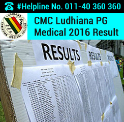 CMC Ludhiana PG Medical 2016 Result