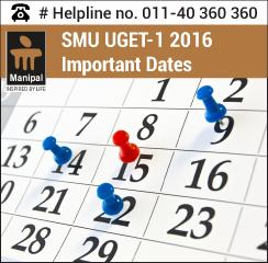 SMU UGET 1 2016 Important Dates