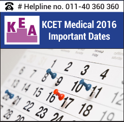 KCET Medical 2016 Important Dates