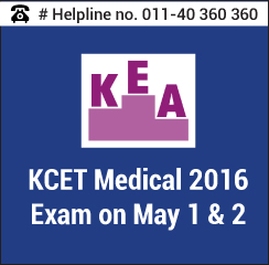 KCET Medical 2016 Exam on May 1 & 2