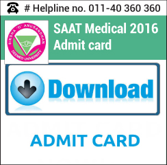 SAAT Medical 2016 Admit Card