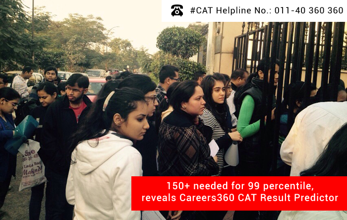 150+ needed for 99 percentile, reveals Careers360 CAT Result Predictor
