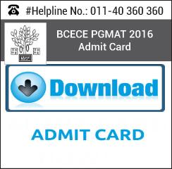 BCECE PGMAT 2016 Admit Card