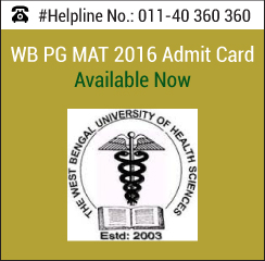 WB PG MAT 2016 Admit Card Available Now