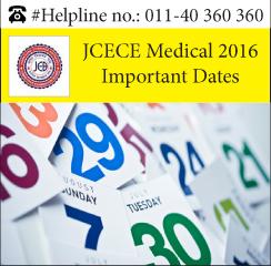 JCECE Medical 2016 Important Dates