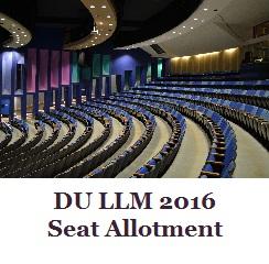 DU LLM 2016 Seat Allotment