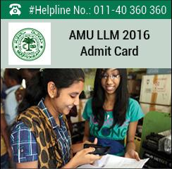AMU LLM 2016 Admit Card