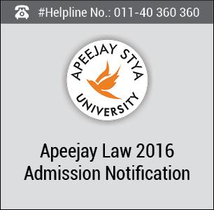 Apeejay Law 2016 Admission Notification