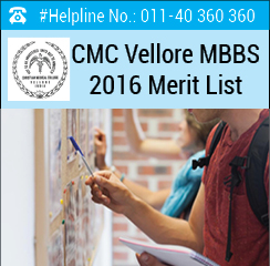 CMC Vellore MBBS 2016 Merit List