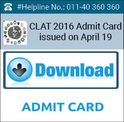 CLAT 2016 Admit Card issued on April 19