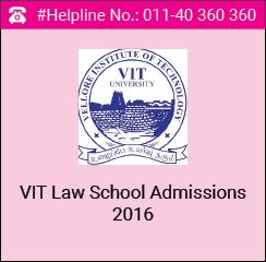 VIT Law School Admissions 2016