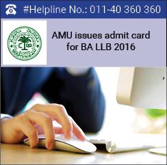 AMU issues admit card of BA LLB 2016