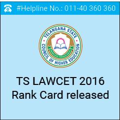 TS LAWCET 2016 Rank Card released