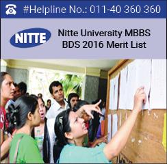 Nitte University MBBS BDS 2016 Merit List