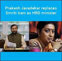 Prakash Javadekar replaces Smriti Irani as HRD minister