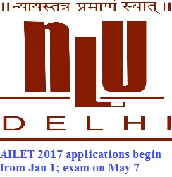 AILET 2017: applications begin from Jan 1; exam on May 7