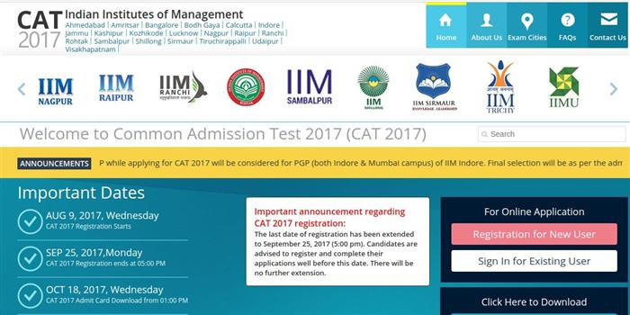 CAT 2017 application deadline extended till September 25