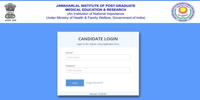 JIPMER Candidate Login 2018