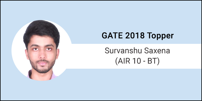 "GATE 2018 Topper Interview Survanshu Saxena (AIR 10 - BT) - ""Self Belief and Wholehearted effort leads to success"""