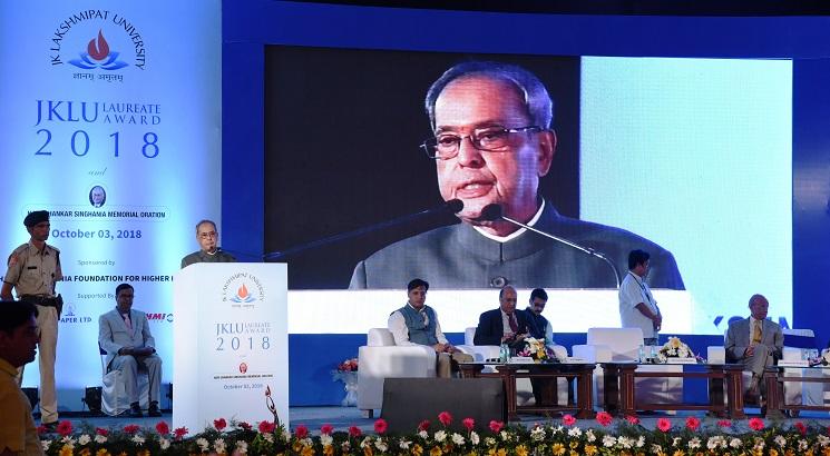 JK Lakshmipat University confers former President Pranab Mukherjee with Laureate Award