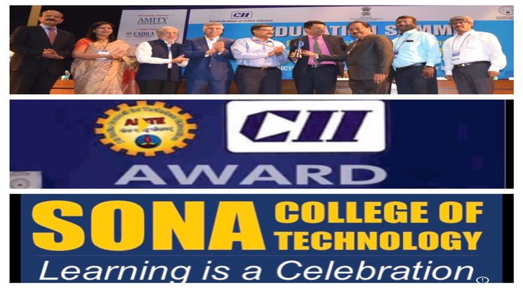 AICTE awards best Industry linked Technical Institution (Mechanical Engineering) to Sona College of Technology