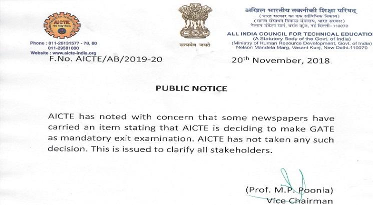 GATE not being made mandatory exit exam, clarifies AICTE