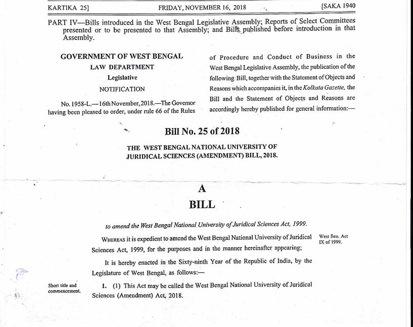 West Bengal introduces WBNUJS Amendment Bill; 4 fold increase in state-quota seats