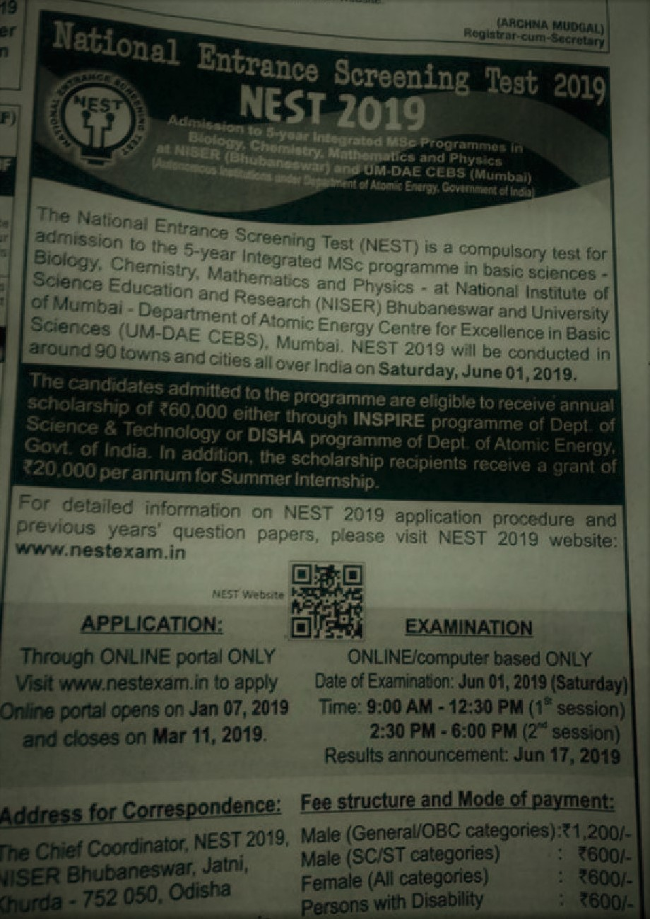 NEST 2019 notification out; Application to begin from Jan 7; Exam scheduled on June 1