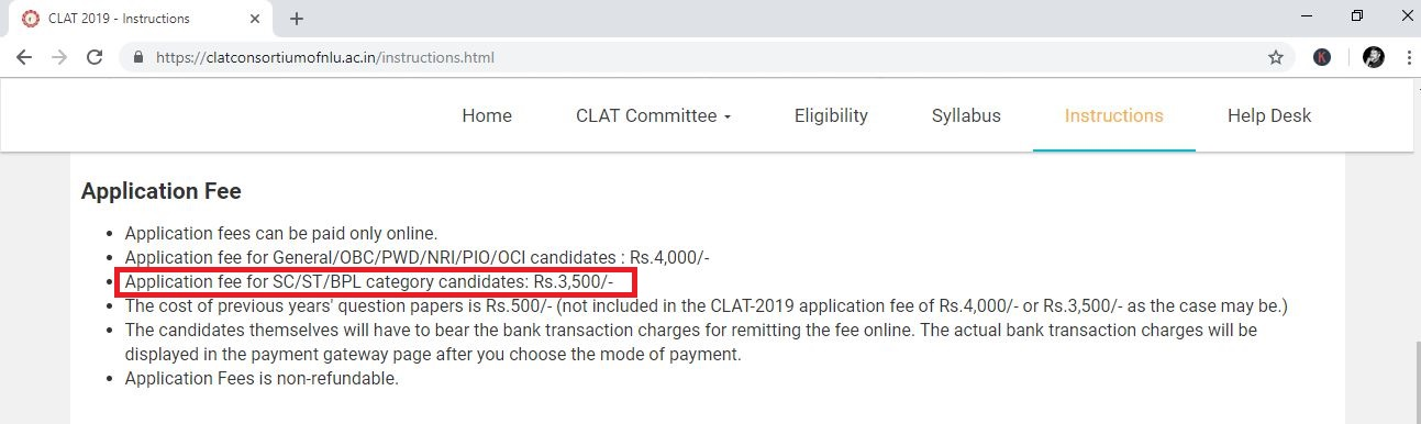 Breaking: CLAT 2019 application form charges Rs 3500 from BPL category