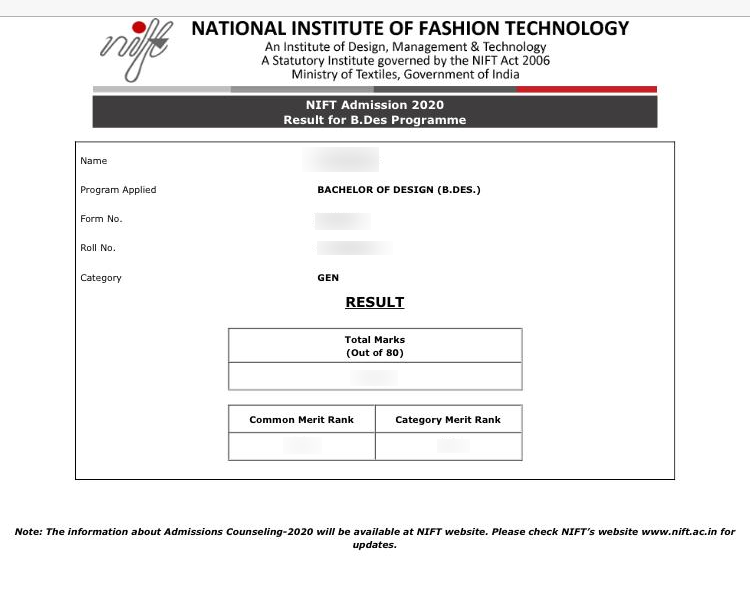 Nift Result 2021 Check B Des And B Ftech Final Result And Score Card Here