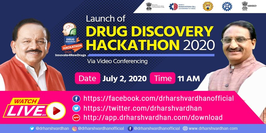 HRD and Health Ministers will inaugurate Drug Discovery Hackathon 2020