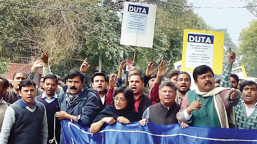DU teachers stage protest over delay in release of grants to 12 colleges funded by city govt
