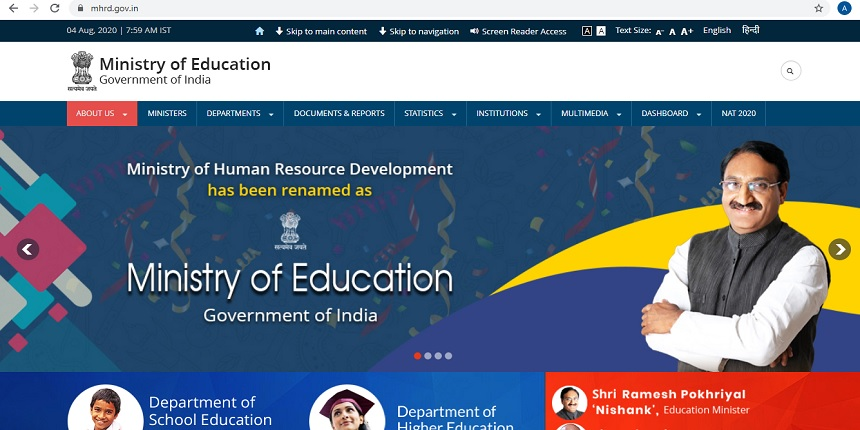 MHRD becomes Ministry of Education on websites, social media