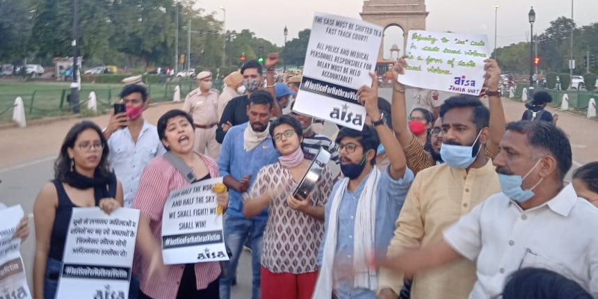 Students across campuses protest demanding justice for Hathras girl