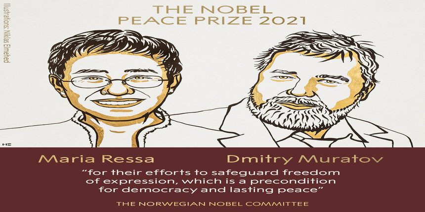 Nobel Peace Prize awarded to journalists Ressa and Muratov