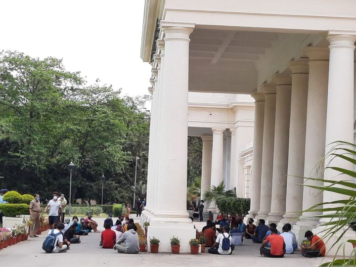 PhD students protest as IITs vacate hostel amid spike in COVID cases