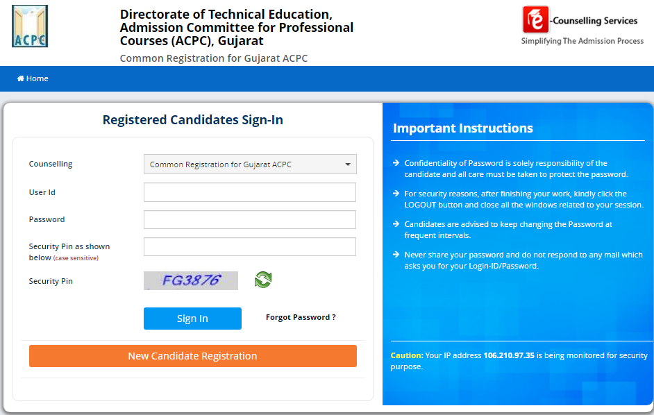 gujcet-counselling-registration-window