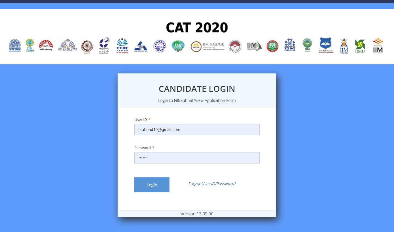 CAT-2020-candidate-login