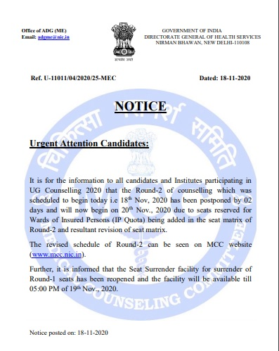 NEET-counselling-round-two-delayed