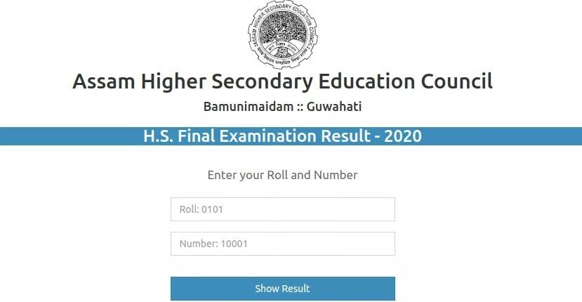 HS Result 2020 Assam Window
